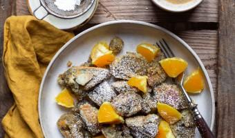 Veganer Kaiserschmarrn mit Mohn und gebratenen Orangen